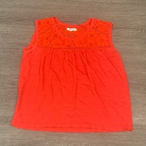Madewell Red Lace Cut Out Top